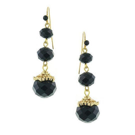 Gold-Tone Black Beaded Drop Earrings