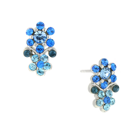 Silver-Tone Lt. Blue Crystal Flower Earrings