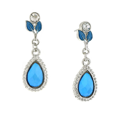 Silver-Tone Sapphire Blue Color Leaf Teardrop Earrings