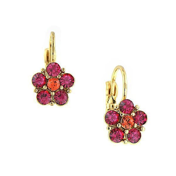 Gold-Tone Fuschia Flower Drop Earrings