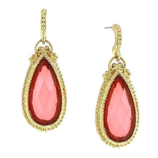 Gold Tone Coral Teardrop Earrings