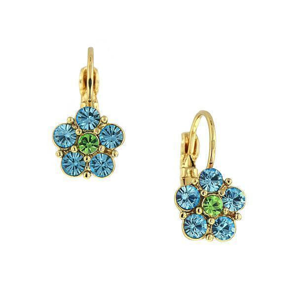 Gold-Tone Aqua Blue And Lt. Green Flower Drop Earrings