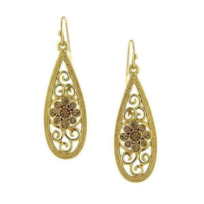 Gold Tone Lt. Topaz Filigree Teardrop Earrings