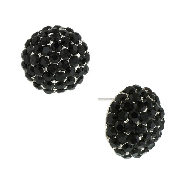 Silver-Tone Jet Round Pave Button Earrings