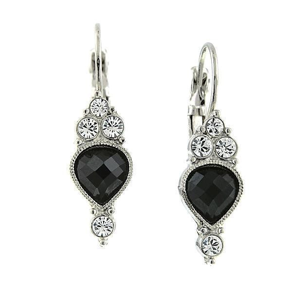 Silver Tone Jet And Crystal Drop Earrings