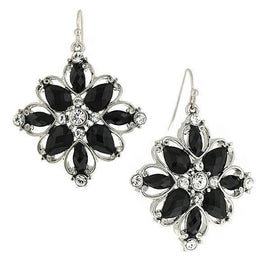 Silver-Tone Black Stone and Crystal Flower Drop Earrings