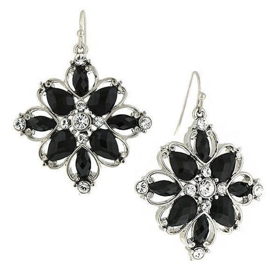 Silver-Tone Black Stone and Crystal Flower Clip On Drop Earrings