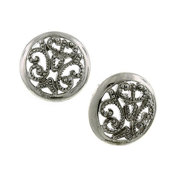 Silver Tone Round Filigree Button Earring
