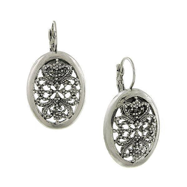 Silver Tone Oval Filigree Drop Wire Earrings