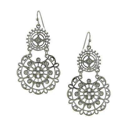 Silver-Tone Crystal Large Filigree Earrings