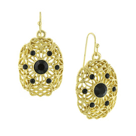 Gold-Tone Jet Filigree Earrings