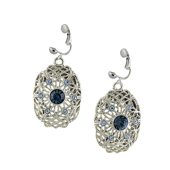 Silver Tone Filigree Oval Drop Clip On Earrings