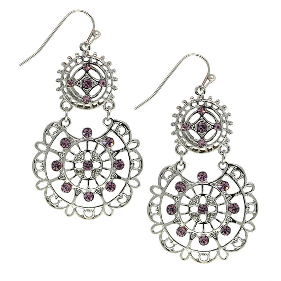 Silver-Tone Amethyst Large Filigree Earrings