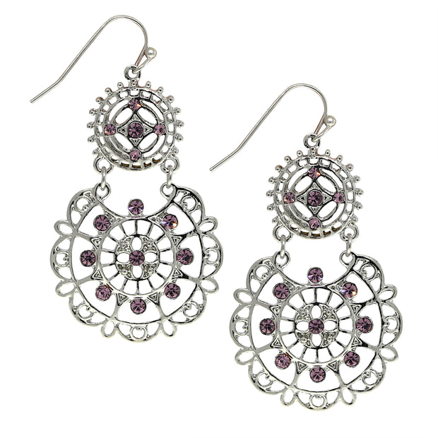 Silver Tone Amethyst Large Filigree Earrings