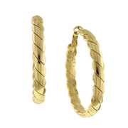 Gold-Tone Large Textured Hoop Earrings