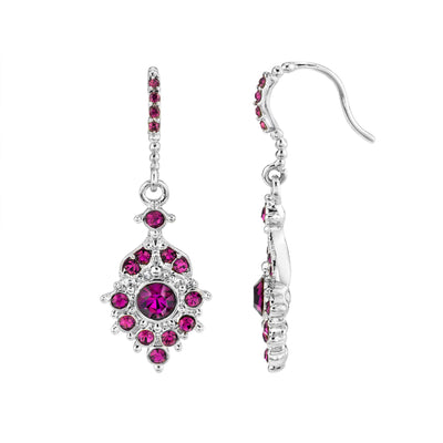 Silver-Tone Amethyst Drop Earrings