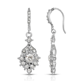 2028 Silver-Tone Crystal Drop Earrings
