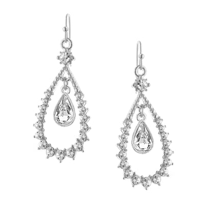 Silver Tone Crystal Floating Teardrop Earrings