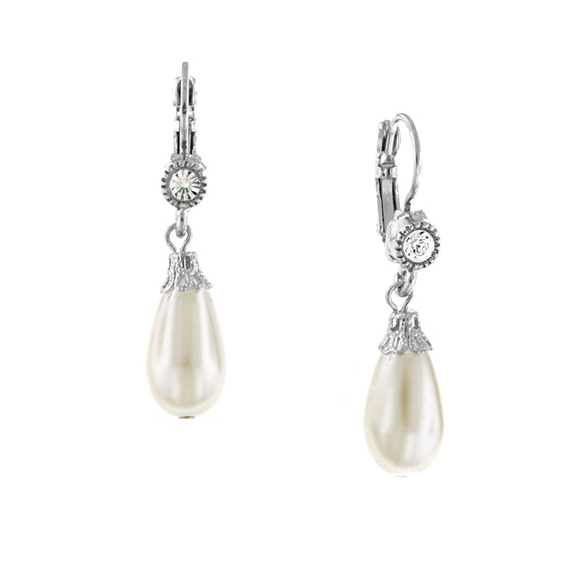 Silver-Tone Crystal And  Costume Pearl Drop Earrings