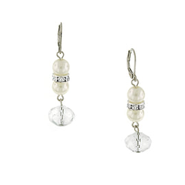 Silver Tone Crystal and Simulated Pearl Drop Earrings