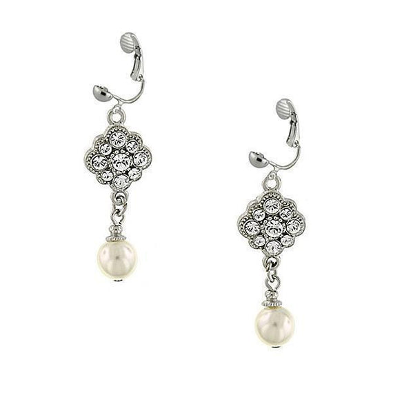 Silver-Tone Crystal and Faux Pearl Clip On Drop Earrings