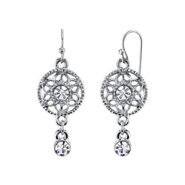 Silver Tone Filigree Medalion Crystal Drop Earrings