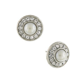 Silver-Tone Crystal and Simulated Pearl Button Earrings