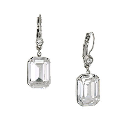 Silver-Tone Genuine Swarovski Crystal Square Drop Earrings