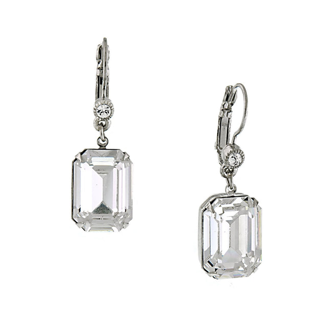 Silver Tone Genuine Swarovski Crystal Square Drop Earrings