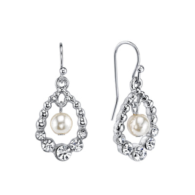 Silver Tone Costume Pearl And Crystal Drop Earrings