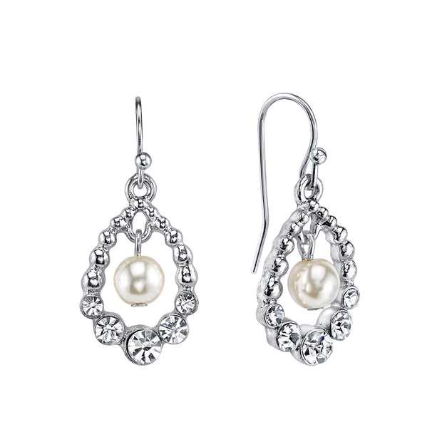 Silver-Tone Costume Pearl and Crystal Clip On Drop Earrings