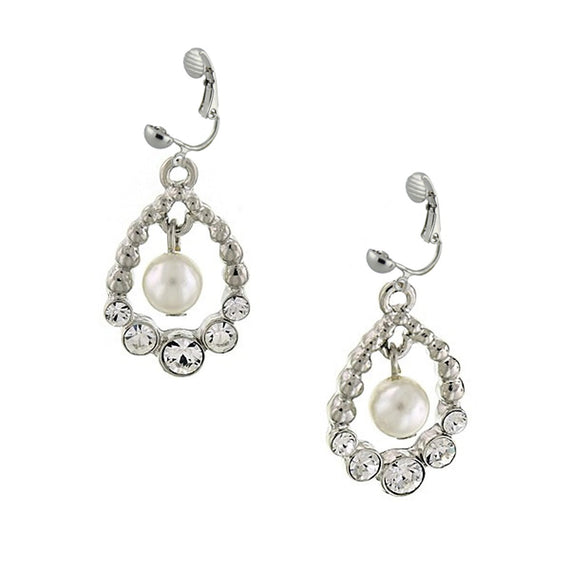Silver-Tone Simulated Pearl and Crystal Drop Earrings