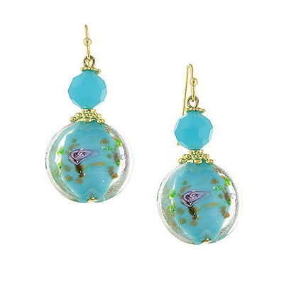 1928 Jewelry Gold-Tone Round Blue & Pink Floral Drop Earrings