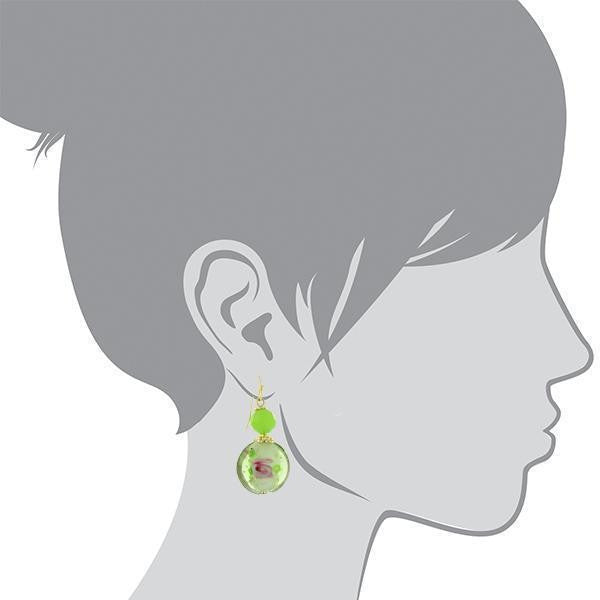 1928 Jewelry Gold-Tone Green Floral Decal Wire Drop Earrings