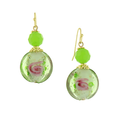 Gold Tone Green Floral Decal Wire Drop Earrings