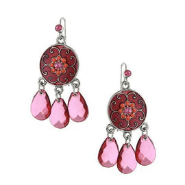 Silver Tone Fuschia Amethyst Enamel Briolette Drop Earrings