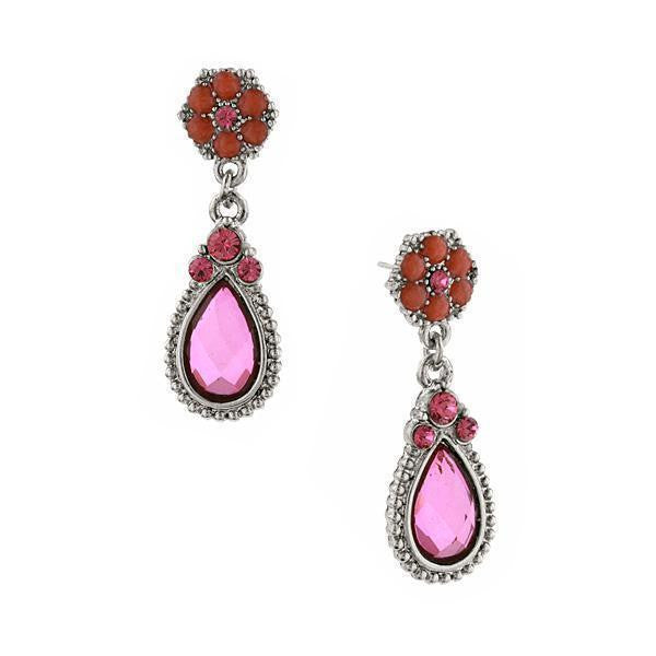 Silver Tone Amethyst Orange And Fuschia Teardrop Earrings