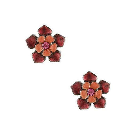 Silver-Tone Purple Orange Flower Button Earrings