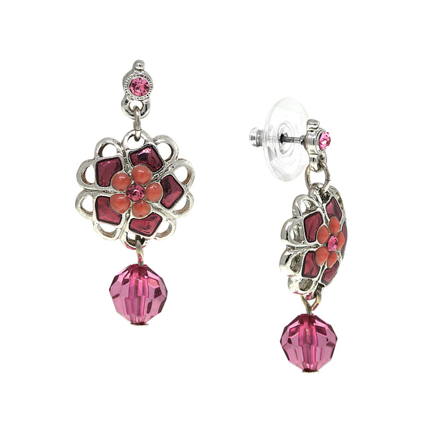 Silver-Tone Fucshia Purple Ball Drop Earrings