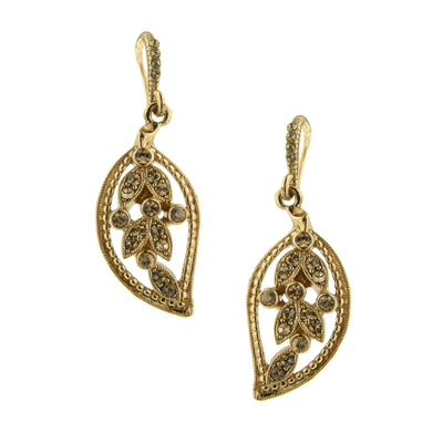 Gold-Tone Light Topaz Color Leaf Drop Earrings