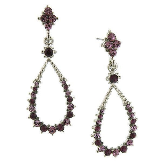 Silver-Tone Amethyst Teardrop Open Hoop Earrings