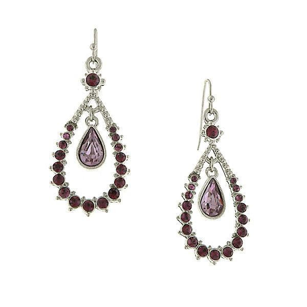Silver Tone Amethyst Open Teardrop Earrings