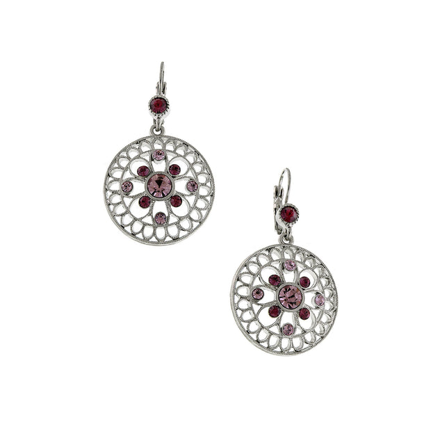 Silver-Tone Amethyst Round Filigree Earrings