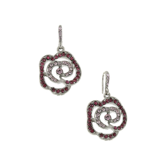 Fashion Jewelry - 2028 Wisteria Silver Tone Rose Crystal Drop Earrings