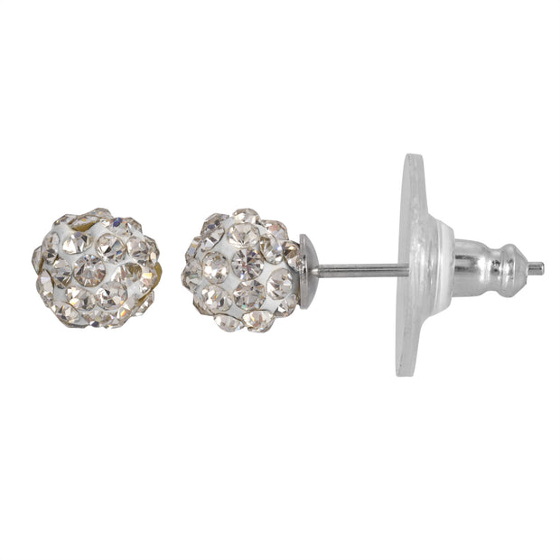 1928 Jewelry Silver-Tone 6mm Pave Stud Earrings