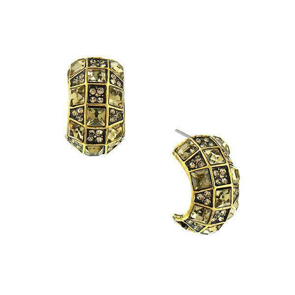 Gold Tone Light Brown Earrings