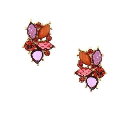 Gold Tone Mixed Berry Leaf Cluster Earrings