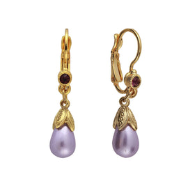 14k Gold Dipped Amethyst Color Teardrop Earrings