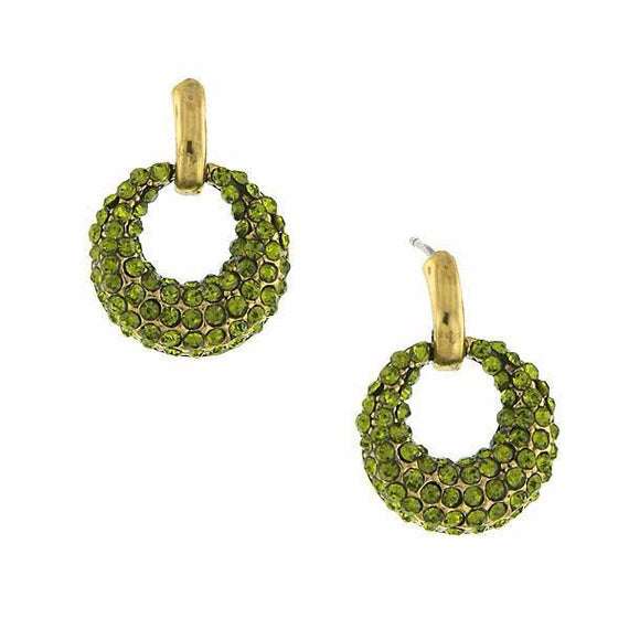Fashion Jewelry - 2028 Gold Tone Green Pave Mini Open Hoop Pave Earrings