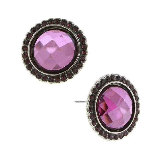Silver-Tone Amethyst Faceted Button Earrings
